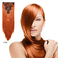 Накладные волосы трессы на 12 прядей ровные 60 см.цвет огненно рыжий, фото 1