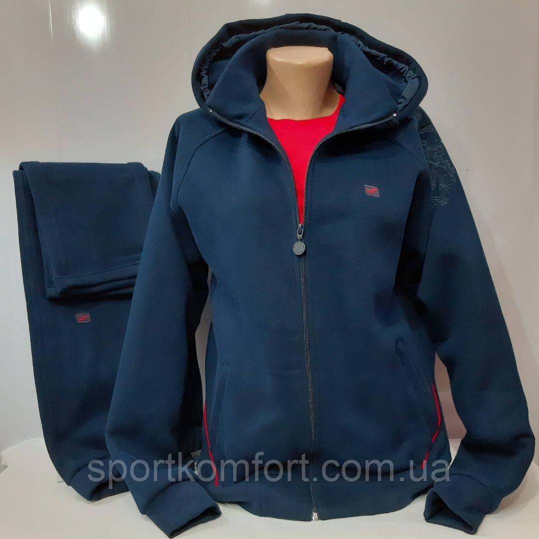 Тёплый женский спортивный костюм Fore, Турция, тёмно-синий, большой размер.