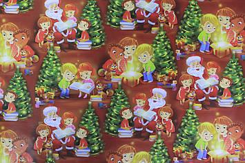 Бумага для упаковки новогодних детских подарков с рисунком размер 1 метр на 70 см 1 шт