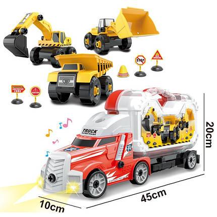 Детские набор инструменты грузовик для мальчика шурупах трейлер 42 см строй техника 22 предмета, фото 2