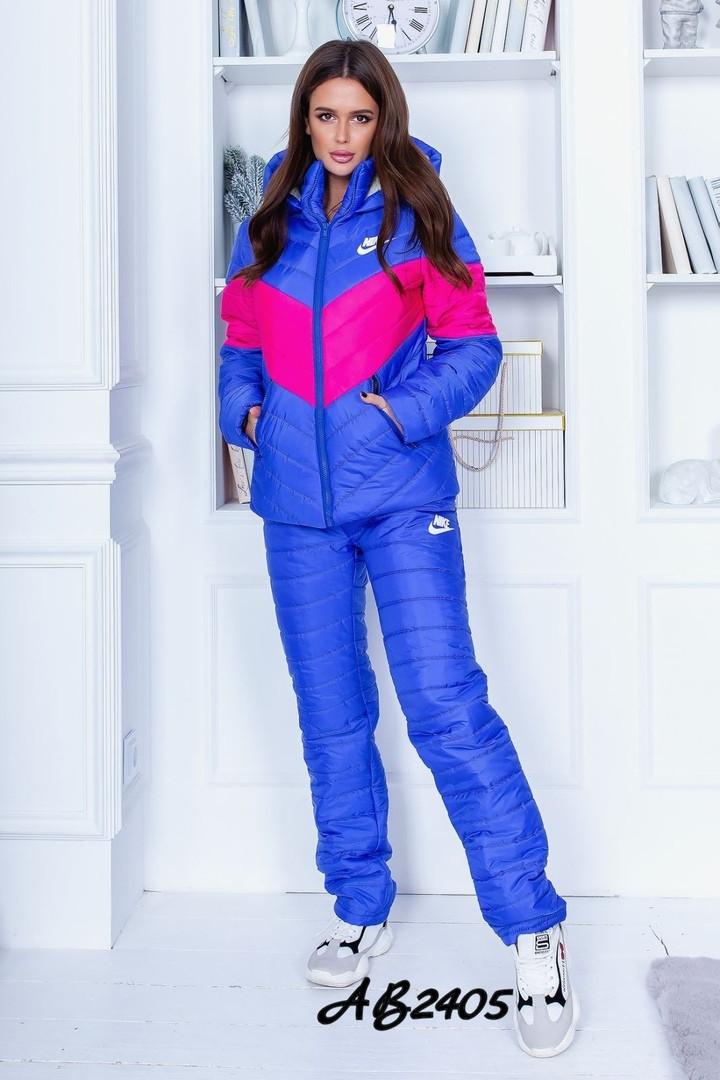 Женский теплый лыжный костюм синтипон на иск. овчине 3расцв.42-48р.