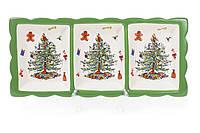 """Тарелка новогодняя керамическая """"Новогодняя Елка"""" 35 см, цвет - зеленый с белым, набор 2 шт"""