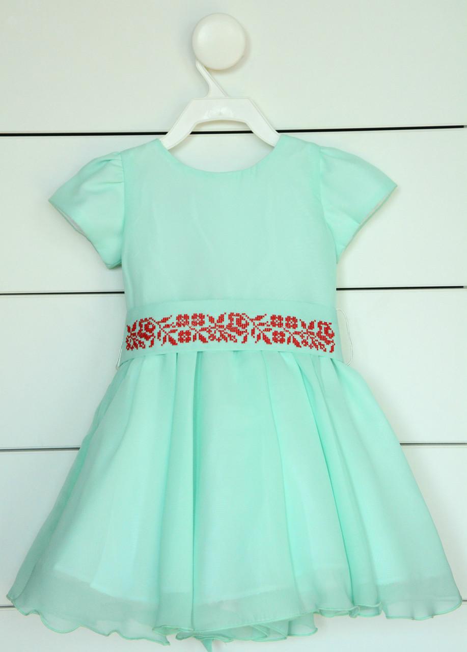 Платье с вышивкой для девочки на коротким рукав 80 см, 86 см, 92 см