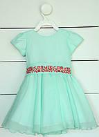 Платье с вышивкой для девочки на коротким рукав 80 см, 86 см, 92 см, фото 1