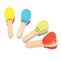 Деревянная игрушка Мелодичные кастаньеты, развивающие товары для детей.