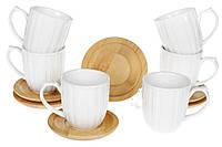 Набор фарфоровых чашек 150мл с бамбуковыми костерами (6шт) Naturel, 32см, фото 1