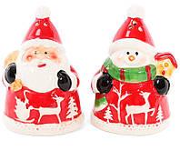 """Набор для специй """"Новогодние Снеговик и Санта"""" 2 предметов, солонка и перечница"""