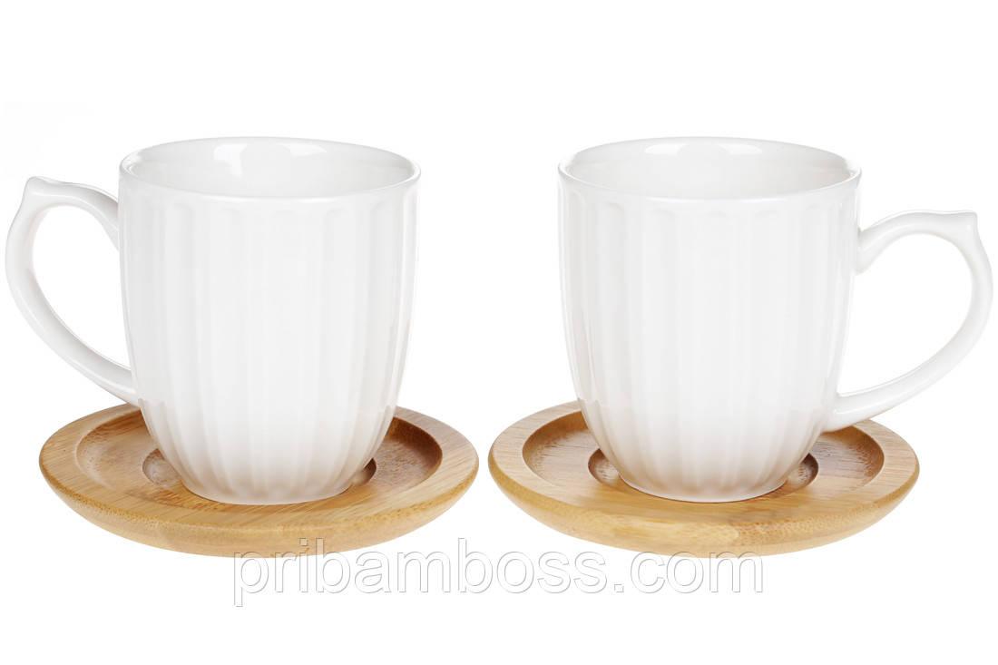 Набор фарфоровых чашек 150мл с бамбуковыми костерами (2шт) Naturel, 19см