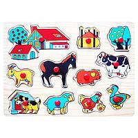 Деревянная игрушка Домашние животные, развивающие товары для детей.