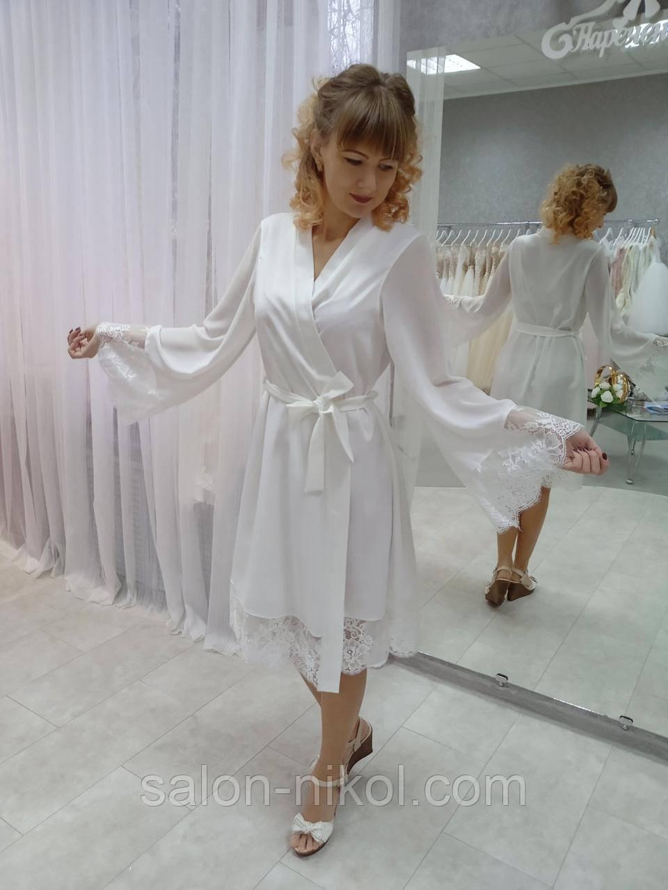 Свадебный пеньюар, будуарное платье айвори П-04