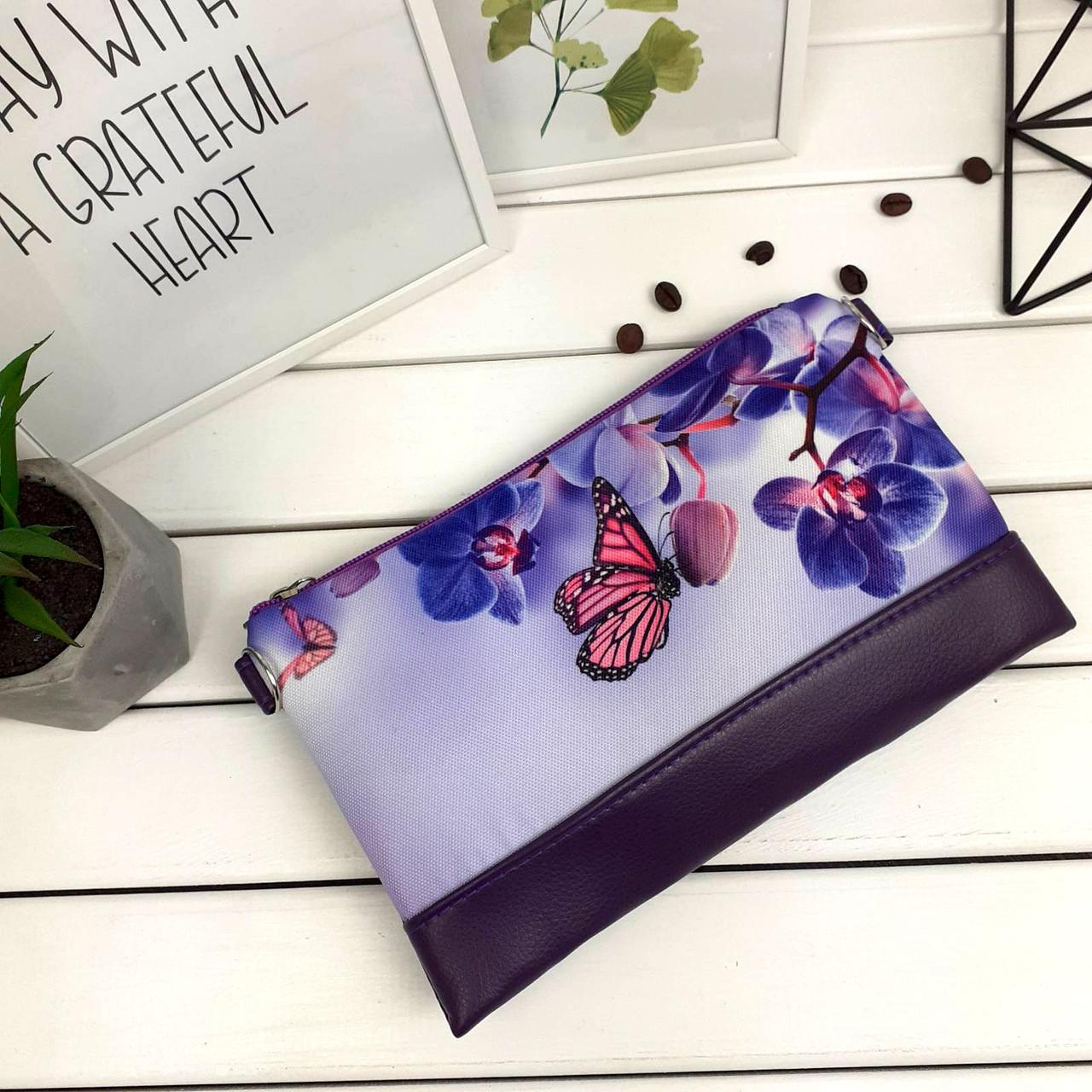 Клатч Moderika Lady фиолетовый с рисунком Орхидея (44398)