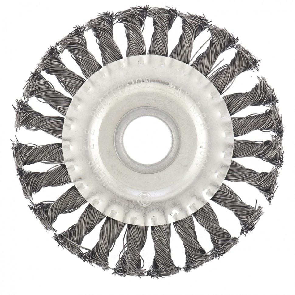 Щетка для УШМ 125 мм, посадка 22,2 мм, плоская, крученая металлическая проволока Сибртех