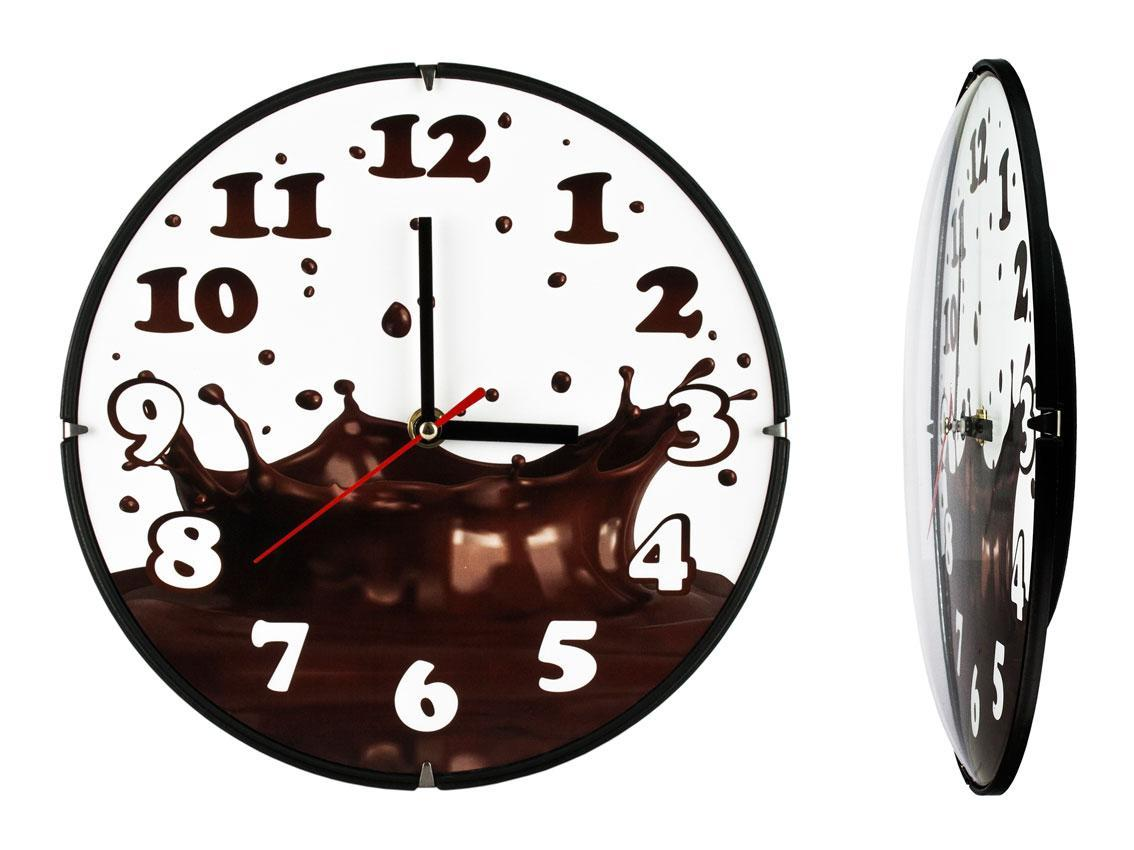 Часы настенные Montre Горячий шоколад 24х24х4 см Стекло Тихий ход (21605)