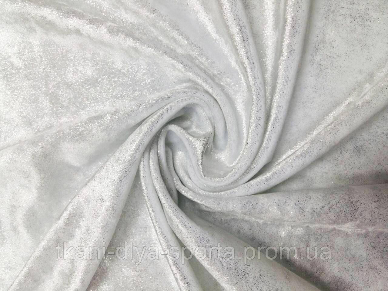 Стрейч-бархат шиммер CHRISANNE (Англия) белый (silver/white)