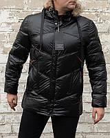 Мужской чёрный зимний пуховик с капюшоном