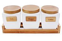 Набор банок (3шт) 800мл для сыпучих продуктов на деревяной подставке Naturel, BonaDi 289-152