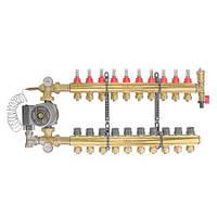 Коллектор теплого пола в сборе с насосом на 10 выходов 1 (ВВ) * 3/4 (16 мм)