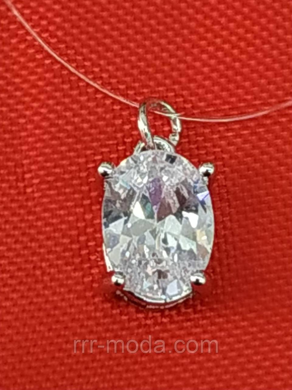 Женские подвески маленькие кристаллы из стали с цирконием на леске. 264