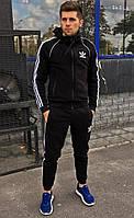 Костюм зимний мужской Adidas утепленный черный с полосами. Живое фото