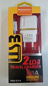 Зарядное устройство RedDax RDX-014 2.1A 2 Usb + кабель Micro Usb Dual usb White