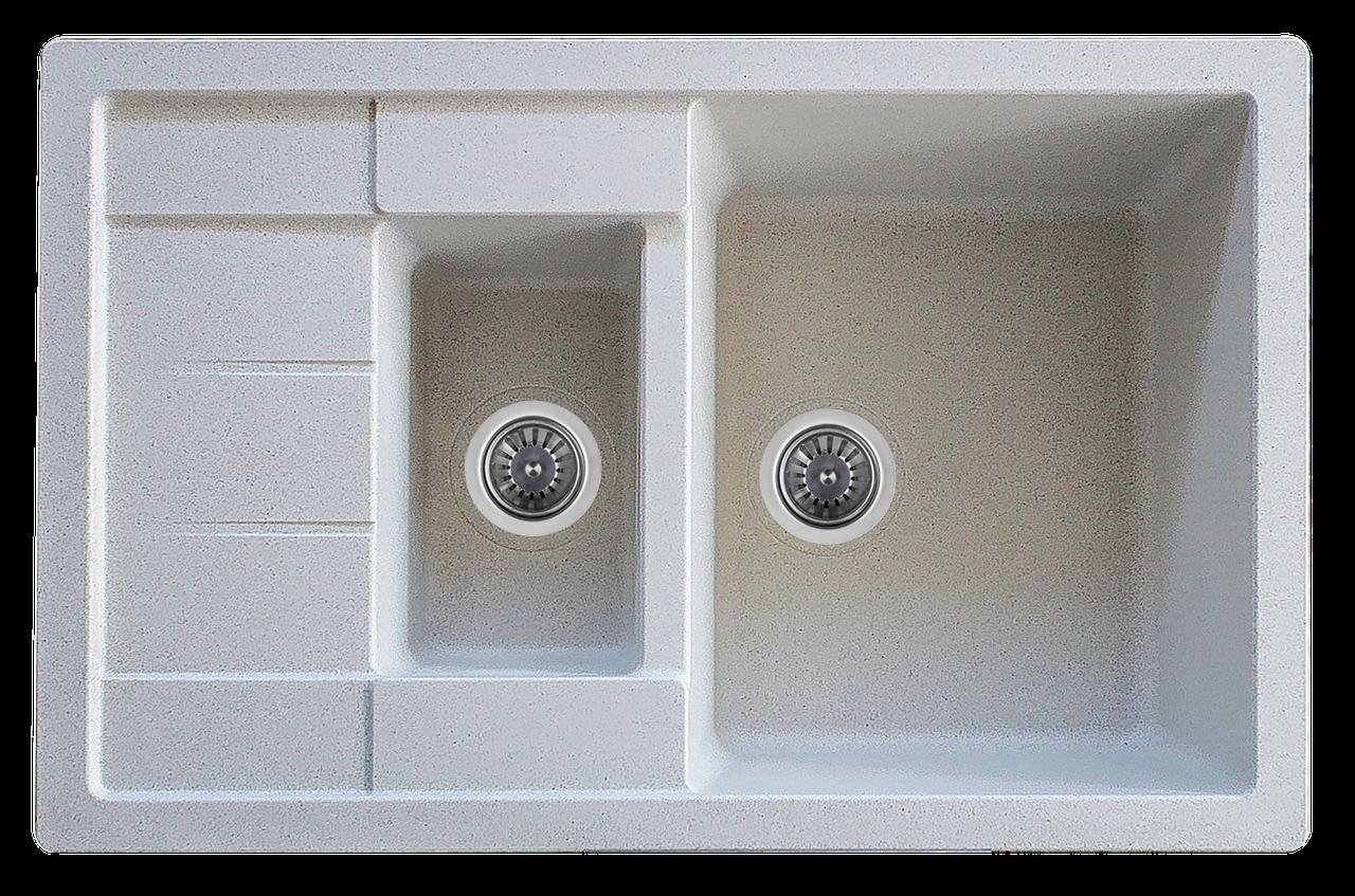 Гранитная мойка Platinum TOSKANA 7850W матовая белый с точкой