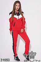 Спортивный женский брючный костюм красный (размеры S M L)