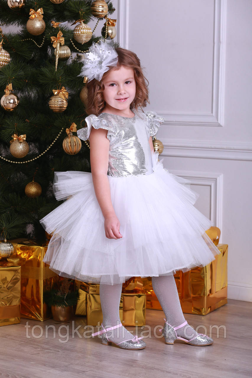 Платье снежинки размер 110-116см, прокат карнавальной одежды