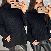 Женский теплый объемный свитер оверсайз под горло в стиле Zara черный