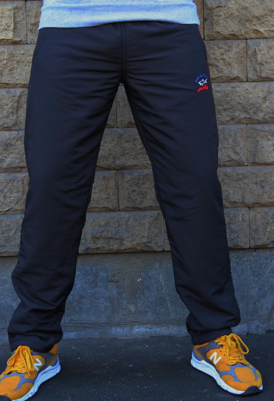 Мужские зимние спортивные штаны черные плащевка на флисе Paul Shark  (Реплика)