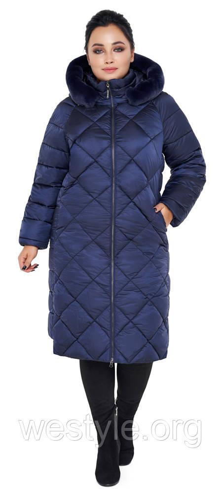 Воздуховик женский зимний с натуральной опушкой на капюшоне Braggart Angel's Fluff - 31046 синий