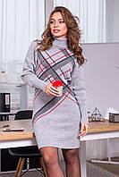 Платье вязаное Штрих 42-50 серый