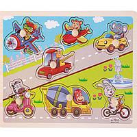 Деревянная игрушка Игра с вкладышами «Транспорт», развивающие товары для детей.