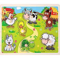 Деревянная игрушка Вкладыши «Мир животных», развивающие товары для детей.