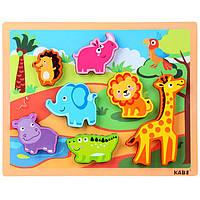 Деревянная игрушка Объемный вкладыш «Животные дикой природы», развивающие товары для детей.