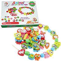 Деревянная игрушка Шнуровка «Животные», развивающие товары для детей.