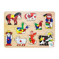 Деревянная игрушка Домашние животные (ферма), развивающие товары для детей.