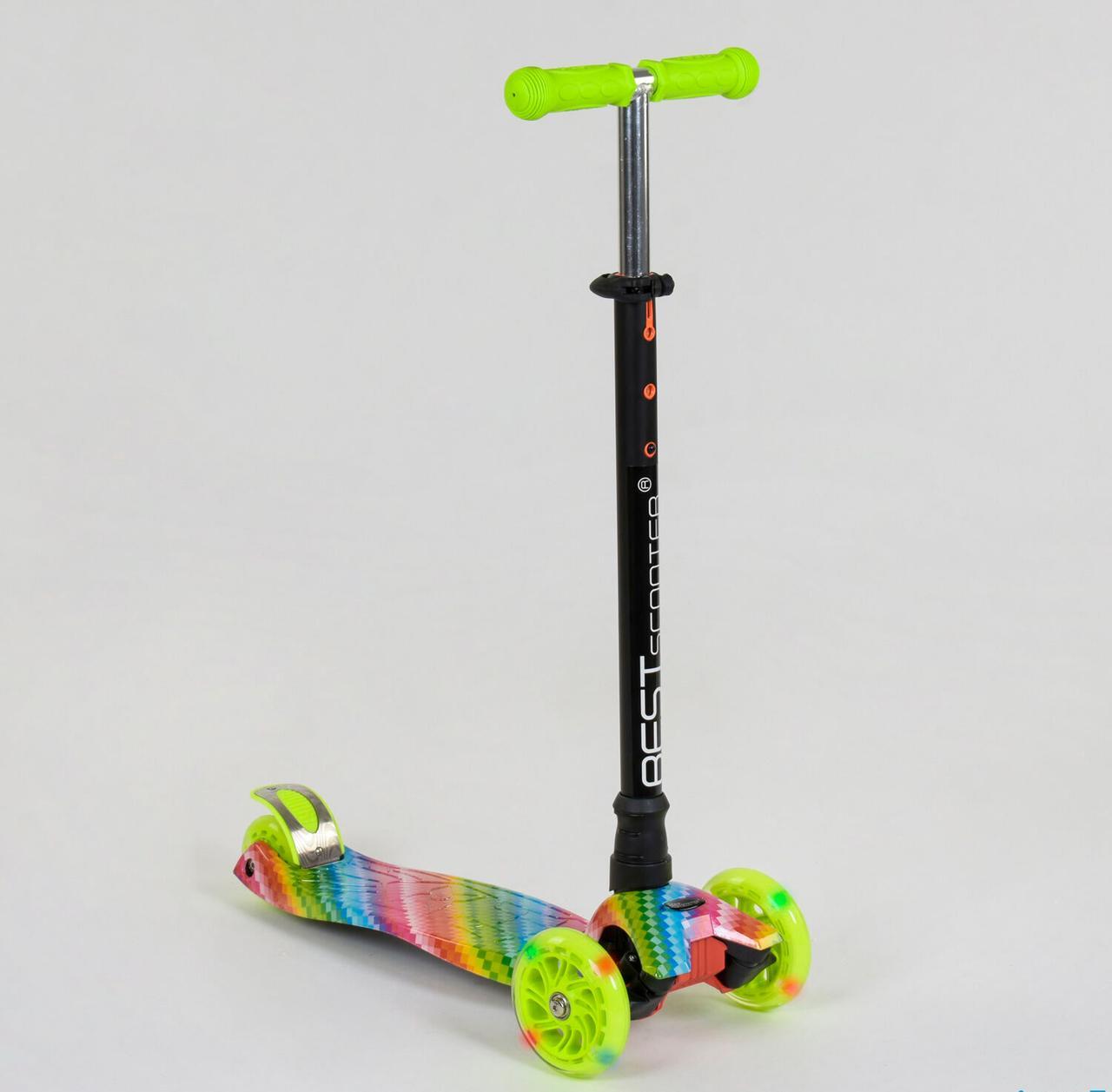 Детский самокат MAXI Best Scooter. Салатовый. Светящиеся колеса!