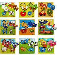Деревянная игрушка Рамки вкладыши «Тематические», 4 эл, развивающие товары для детей.
