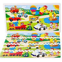 Деревянная игрушка Пазл «У кого какой транспорт», 96 дет., развивающие товары для детей.