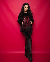 """Женский бархатный прогулочный костюм """"BARKHAT"""" с капюшоном (большие размеры), фото 3"""