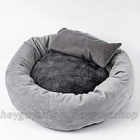Лежак для котов собак круглый с подушкой и одеялом бархатный стильный 40, 46 см