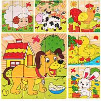 Деревянная игрушка Кубики «Домашние животные», 9 шт, развивающие товары для детей.
