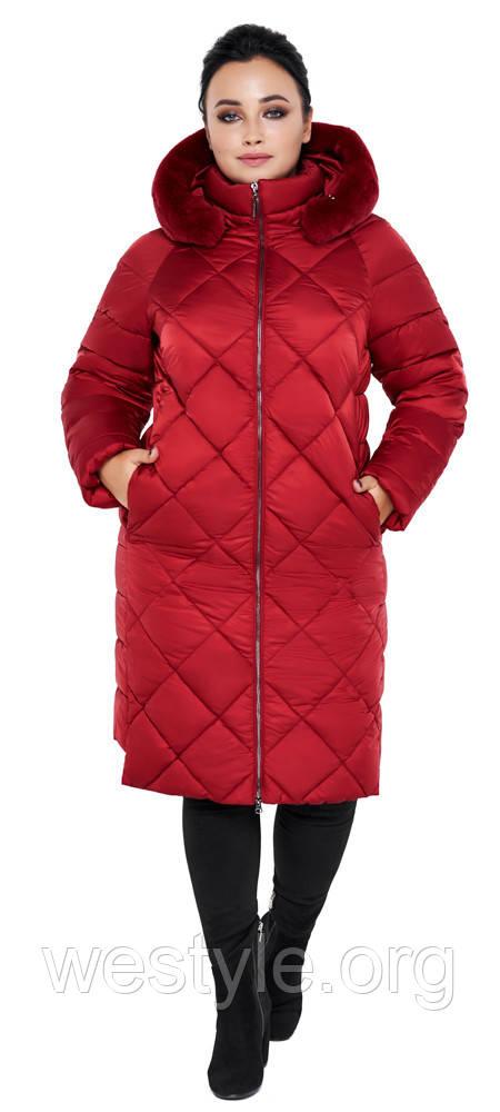 Воздуховик женский зимний с натуральной опушкой на капюшоне Braggart Angel's Fluff - 31046 рубиновый