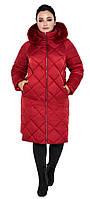 Воздуховик женский зимний с натуральной опушкой на капюшоне Braggart Angel's Fluff - 31046 рубиновый, фото 1