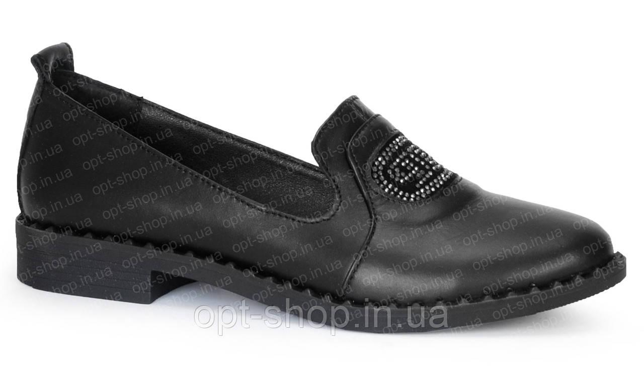 Женские кожаные туфли балетки на низком ходу (код:СЛШ-Т321-чк)
