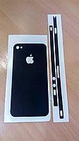 Декоративная защитная пленка на Iphone 4/4S - черный микрокарбон