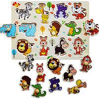 Деревянная игрушка Вкладыши «Животные -Zoo», развивающие товары для детей.