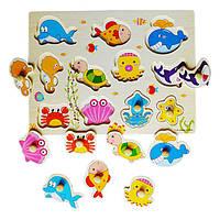 Деревянная игрушка Вкладыши «Морские глубинки», развивающие товары для детей.