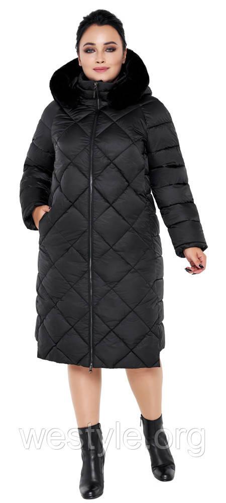 Воздуховик женский зимний с натуральной опушкой на капюшоне Braggart Angel's Fluff - 31046 черный