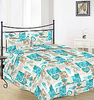 Простынь на полуторную кровать Вилена бязь Голд Голубые сердечка размер 145х220